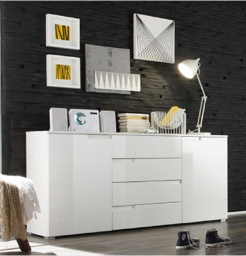 Santino White High Gloss Wide Sideboard S8 - 2616